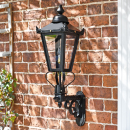Porch entrance outdoor wall mounted lantern finished in black