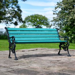Cast Iron and Green Slat 3 Seater Park Bench
