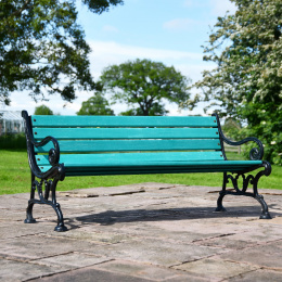 Victorian Cast Iron and Green Slat 3 Seater Park Bench