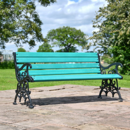 Ornate Scroll Cast Iron and Green Park Bench