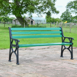 Simplistic Cast Iron and Green Park Bench