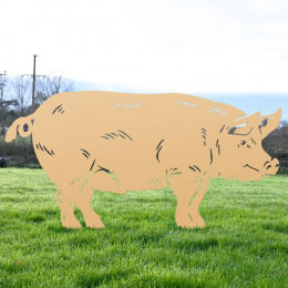 Large Standing Pig Garden Sheet Steel Silhouette Finished In Tan