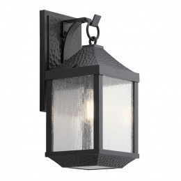 Medium Dimpled Black Period Wall Lamp With Bracket