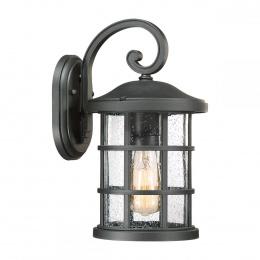 Medium Rustic Black Cylindrical Suspended Wall Lantern