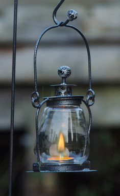 Midnight Black Garden Candle Lantern
