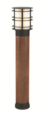 Modern Driveway Bollard Light in Natural Wood and Steel