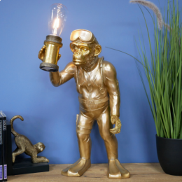 Monkey Scuba Diver Desk Lamp Finished In Gold