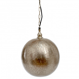Nickel Moroccan Style Etched Ball Hanging Pendant Light