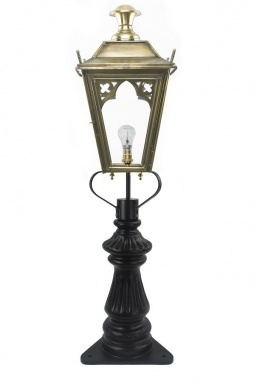 Ornate Driveway Post and Antique Brass Gothic Lantern