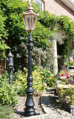 Ornate Lamp Post with Hexagonal Lantern