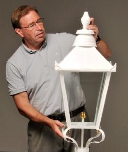 White lamp post top