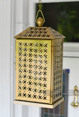 Period Brass Finish Lantern on Chain