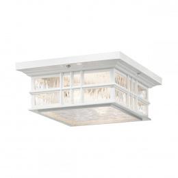 Period White Square Flush Ceiling Light