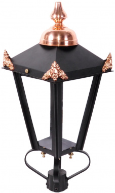 Personalized lantern with copper finials