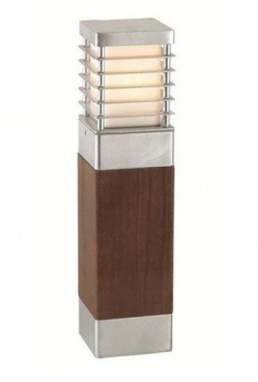 Galvanised and Pine Wood and Steel Low Level Bollard Light