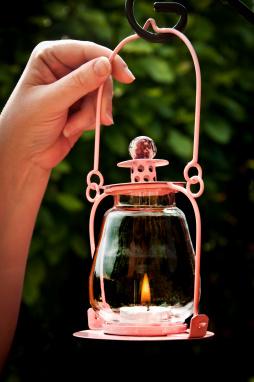 Baby Pink Garden Candle Lantern