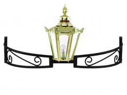 Brass Hexagonal Lantern on Bow Bracket