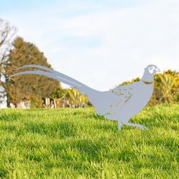 Ring-necked Pheasant Garden Sheet Steel Silhouette In Silver