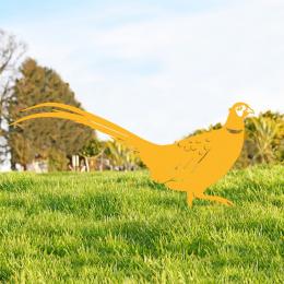 Ring-necked Pheasant Garden Sheet Steel Silhouette In Yellow