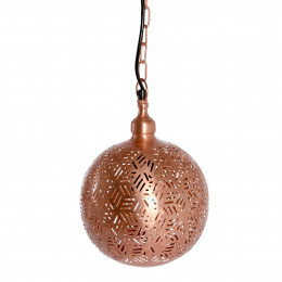 Rose Gold Moroccan Jali Etched Ball Hanging Pendant Light