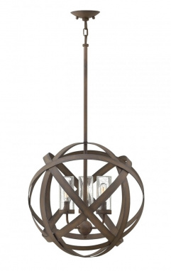Rustic Iron Ribbon Outdoor Hanging Chandelier