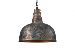 Rustic Verdigris Finish Hanging Ceiling Light and Shade