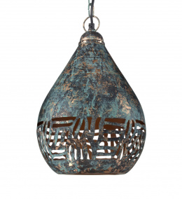 Rustic Verdigris Finish Tear Drop Etched Hanging Ceiling Light