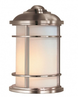 Satin Silver Coastal Inspired Modern Flush Wall Lantern