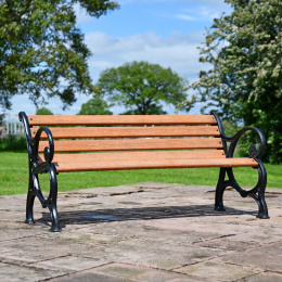 Scrolled Cast Iron and Wood 3 Seater Park Bench