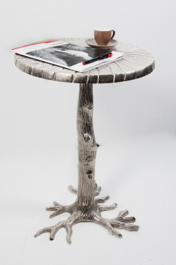 Bar side table - aluminium sculptured tree