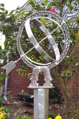 Ornate Silver Armillary with Plinth