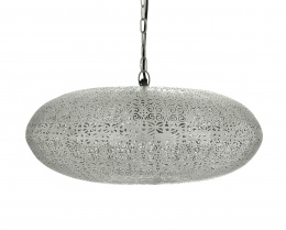 Silver Moroccan Elliptical Etched Hanging Pendant Light