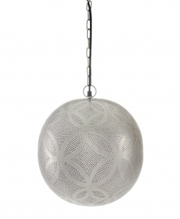 Silver Moroccan Etched Ball Hanging Pendant Light