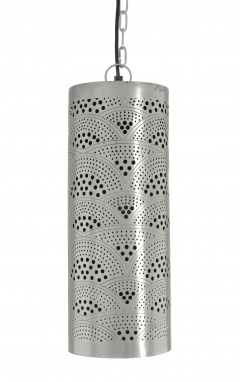 Silver Moroccan Etched Cylinder Hanging Pendant Light