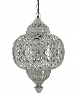"Silver Moroccan ""Matki"" Hanging Pendant Light With Heart Etching"