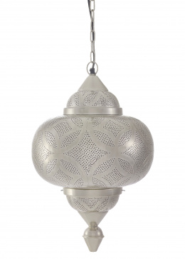 "Silver Moroccan Style Etched ""Matki"" Hanging Pendant Light"