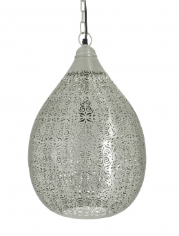 Silver Moroccan Style Jali Etched Teardrop Hanging Pendant Light