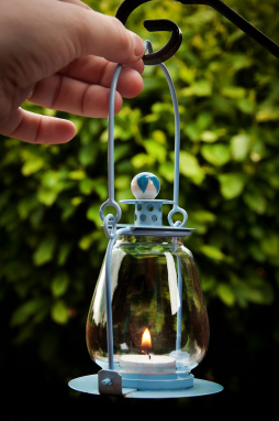 Sky Blue Garden Candle Lantern
