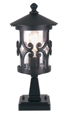 Small Black Ornate Scroll Pillar Light