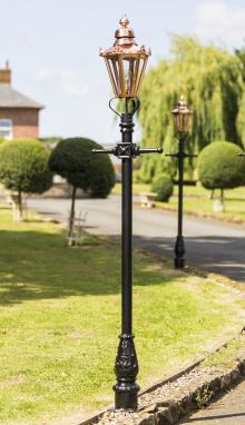 Small Copper Victorian Hexagon Lamp Post