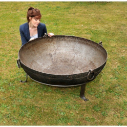 Wrought Iron Kadai  Fire Bowls - 110cm To 115cm