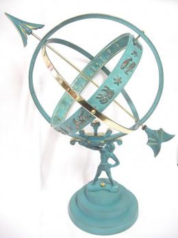 Solid Brass Atlas Armillary Sundial