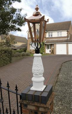 Splashed White & Copper Mini Victorian Lamp post set