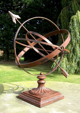 Square Base Wrought Iron Armillary Sphere