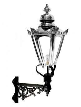 Stainless Steel Hexagon Wall Light On Ornate Corner Bracket
