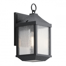 Standard Dimpled Black Period Flush Fitting Wall Lamp
