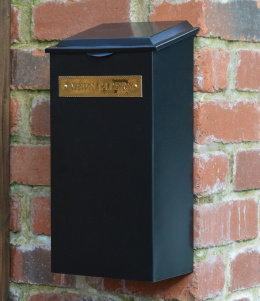"Standard ""Redhill"" Black Newspaper Box With Brass Plaque"