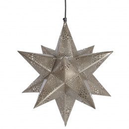 Etched Nickel Star Shaped Hanging Pendant Light