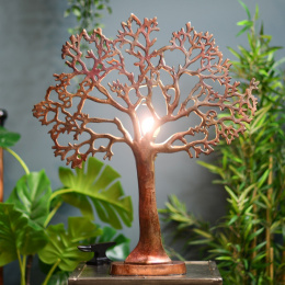 Stunning Copper Tree of Life Table Lamp