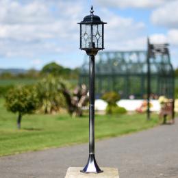 Tall Pillar Light with Dappled Glass Lantern